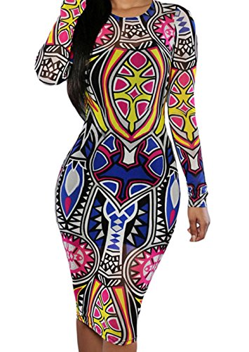 YFFaye Tribal Print Multi Colour Pencil Dress L (Phase Liner Glove compare prices)