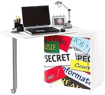 Simmob COOL100BL300 Top Secret 300 scrivania girevole in legno, colore: bianco, dimensioni: 55 x 105 x 74,7 cm