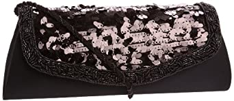 La Regale Guitar Pick Sequined With Beaded Accents 21224 Clutch,Black,One Size