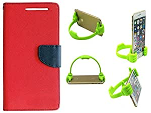 Novo Style Wallet Case Cover For Micromax Canvas Knight A350 Red + Ok Stand For Smartphones And Tablets