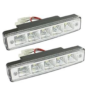 Car Front Grill White 5 SMD LED Daytime Running Light Fog Lamp 2 Pcs