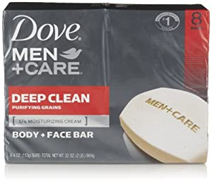 Dove Men + Care Body and Face Bar, Deep Clean, 8 Count
