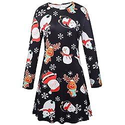LaSuiveur Womens Santa Claus Xmans Print Christmas Flared A Line DressBlack(New 11)X-Large