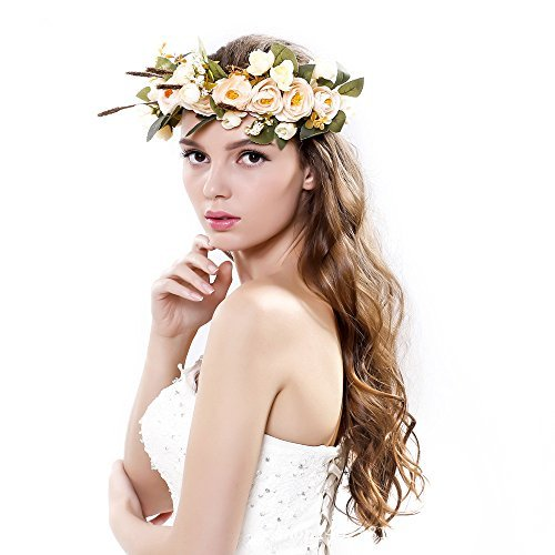 Meiliy Natural Berries Reeds Flower Garland Crown Flower Headband Hair Wreath with Adjustable Ribbon for Wedding Festivals
