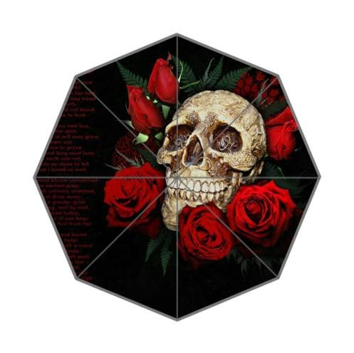 Unique Suar Skull And Roses Pattern 100% Fabric And Aluminium Auto Foldable Umbrella
