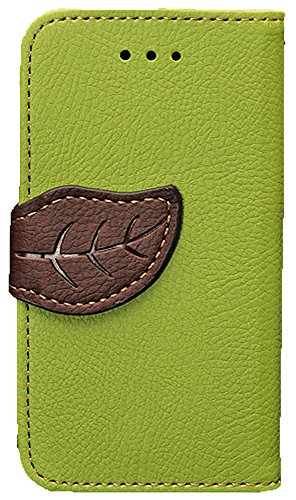 Mylife (Tm) Spring Leaf Green And Brown -Natural Design - Textured Koskin Faux Leather (Card And Id Holder + Magnetic Detachable Closing) Slim Wallet For Iphone 5/5S (5G) 5Th Generation Itouch Smartphone By Apple (External Rugged Synthetic Leather With Ma