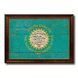 South Dakota State Vintage Flag Art Collection Western Shabby Cottage Chic Interior Design Office Wall Home Decor Gift Ideas, 23\