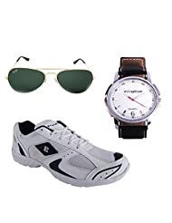 Elligator Stylish White Sport Shoes & Watch With Elligator Sunglass For Men's