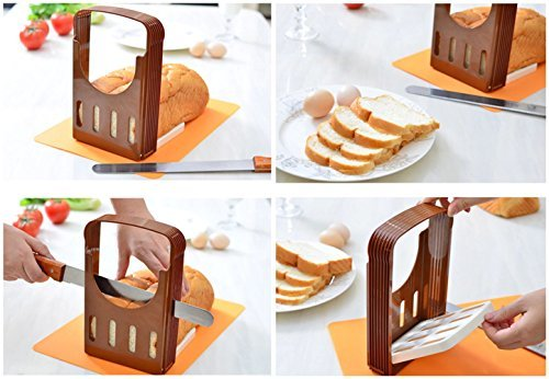 BakeWarePlus Compact and Foldable Baking Bread Loaf Toast Slicer Cutter