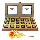 Tingling Selection Of Chocolates With 24k Gold Plated Rose - Chocholik Belgium Chocolates
