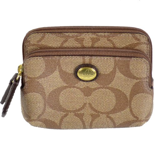 Coach   Coach Peyton Signature Double Zip Coin Purse 68656 Khaki Mahogany