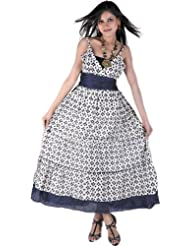 Exotic India Ivory and Midnightblue Barbie Dress with Ikat Print  Ivory