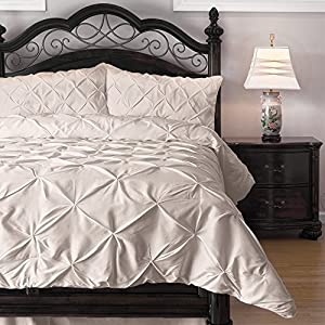 4 Piece Pinch Pleat Puckering Comforter Set by ExceptionalSheets - Ideal for Summer, Cal King, Ivory