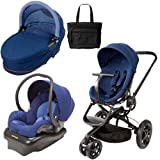 Quinny CV078BFP Moodd Stroller Travel System and Dreami Bassinet in Blue Reliance with Diaper Bag