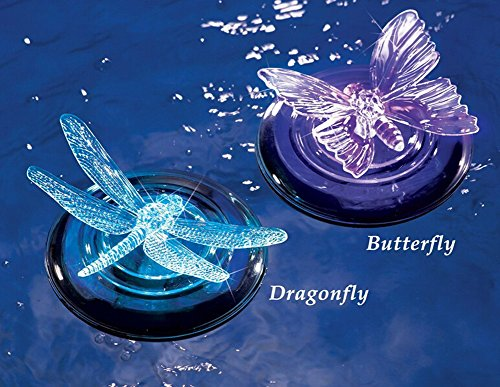 De-Spark 2 Pack Solar Powered Color Changing Floating Butterfly Dragonfly Night Lamp Led Light For Garden Pond Pool