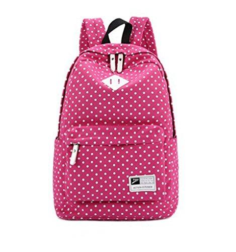 Hot Sale Fashion Lightweight Canvas Laptop Bag/ Shoulder Bag/ School Backpack/ Travel Bag/ Handbag (Hot Pink) front-573765