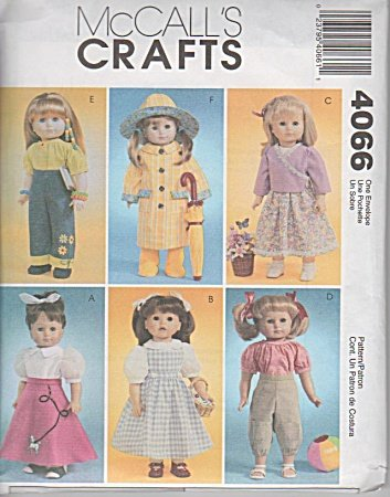 McCall&#039;s Patterns M4066 18-Inch Doll Clothes, One Size Only