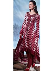 Exotic India Garnet-Red Long Salwar Kameez Suit With Embroidery On Neck An - Red