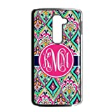 Hot Pretty Floral Jewels Monogrammed Luxury Cover Case For LG G2 AT&T(Black) with Best Plastic ALL MY DREAMS