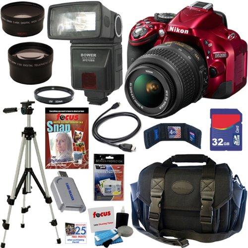 Nikon D5200 24 1 MP CMOS Digital SLR Camera (Red) with 18