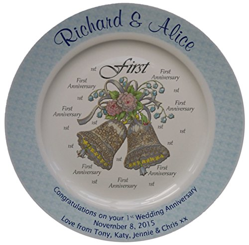 Personalized Bone China Commemorative Plate For A First Wedding Anniversary - Wedding Bells Design With A Blue Rim