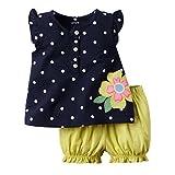 Winer 幼児服セット ドット花プリント半袖 t シャツ + ブルマ パンツ スーツ (90, ネイビー) ランキングお取り寄せ