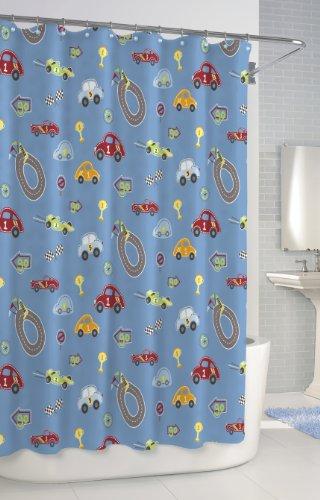 Kassatex Scb-115-Rtr-Blu Bambini Shower Curtain, Race Track front-68855