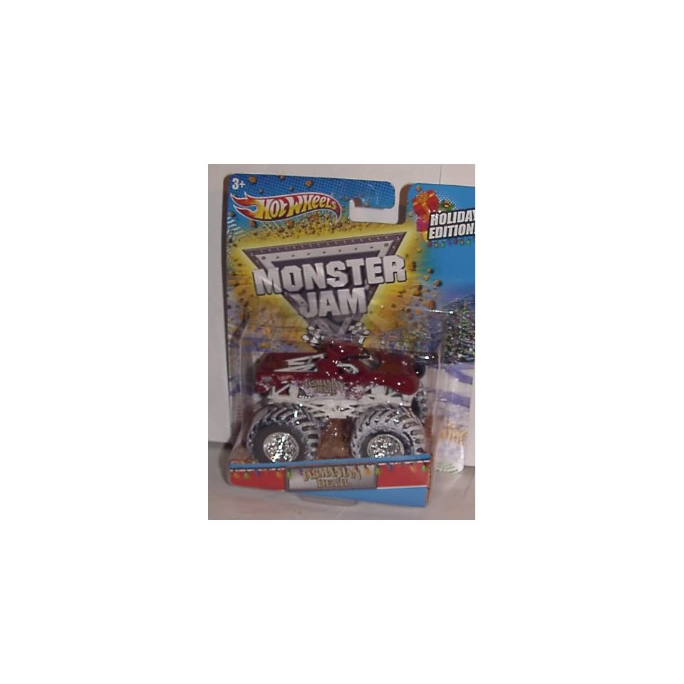 2012 HOT WHEELS 164 SCALE EXCLUSIVE HOLIDAY TASMANIAN DEVIL MONSTER JAM TRUCK WITH SNOW COVERED TIRES TAZ