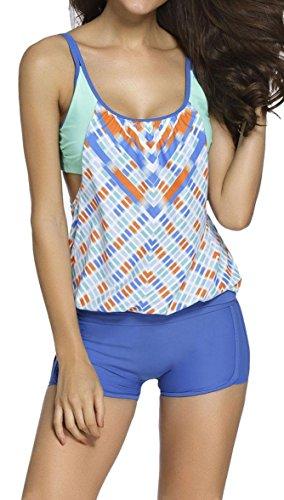 IF FEEL Womens Stripes Padded One-piece Monokini Triangle Tankini Swimwear