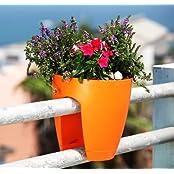 Minerva Naturals - High Quality Plastic Balcony Railing Planter(Orange)