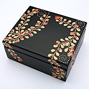 "Copper Wood Tea Box Sampler with Gold Vines and 44 TAZO Teabags in 11 Flavors , Hinged Red Cherry Finish Paulownia Hardwood Tea Chest (Made of solid wood, not particle board!) 13.5"" x 4"""