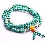 Qiyun Turquoise Blue 6mm Rosary Mala Prayer Bead Meditation Necklace Bracelet
