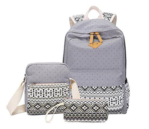 Brinny 2016 Nouveau Trois Pièces Loisirs Sac à Dos Cartable Schoolbag sac à bandoulière Mode Bohême National Style Géométrique Motif Sac de Voyage 7 Couleurs