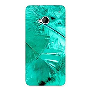 Impressive Feather Cyan Back Case Cover for HTC One M7
