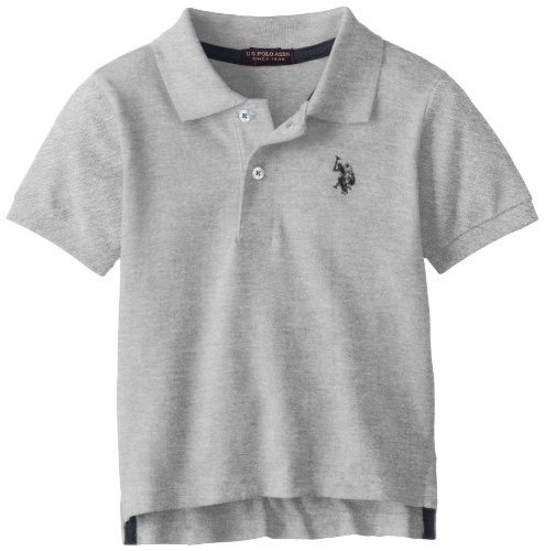 U.S. Polo Assn. Little Boys' Short Sleeve Pique With Small Pony, Light Heather Gray, 4T