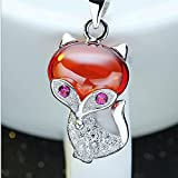 JewelleryQueen 925 Sterling Silver Cute Lucky Fox Crystal Pendant Necklace For Women