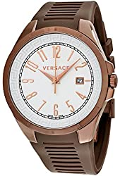Versace V-Man White Dial Brown Rubber Mens Watch P7QM6D001-S497