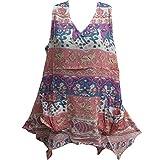 Womens Bohemian Indian Cotton Sleeveless Tunic Cami Tank Top Pink Elephant Print