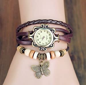 Eforcase Girl's Fashion Classic Leather Strap Roma Number Dial Quartz Wrist Watch with Butterfly Pendant Brown