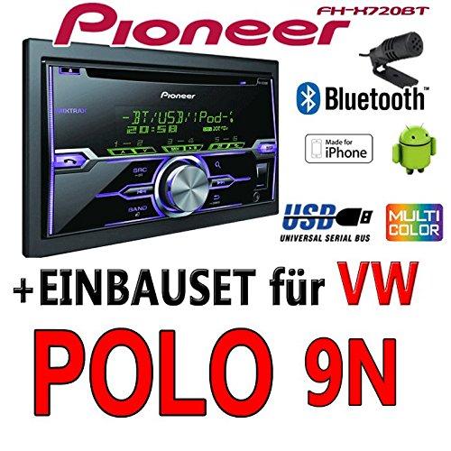VW-Polo-9N-Pioneer-FH-X720BT-2DIN-USB-Bluetooth-CD-Autoradio-Apple-iPodiPhone-Direktsteuerung-Einbauset
