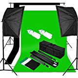 Excelvan® Professional Studio Softbox Photography Continuous Lighting Kit -- 3 Backdrop Background (Black White Green)+10x6.5ft Light Stand +2 x 125W E27 5500K Light Bulbs +Portable Bag