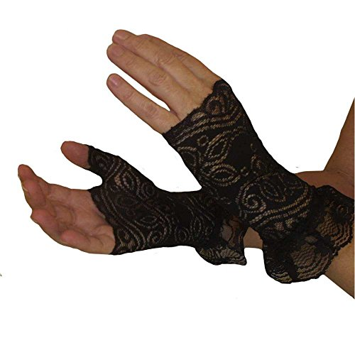 Steampunk Ruffled Black Lace Gloves