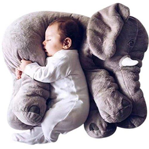 WDA Comfy Elephant Pillows Plush Stuffed Elephant Toys Baby Toys Sleeping Partner (Grey)
