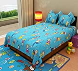 Home Candy Kids Cotton Double Bedsheet with 2 Pillow Covers - Blue