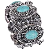 HAPPY World Vintage Tibetan Silver Ethnic Gothic Oval Turquoise Inlay Wide Bangle Women Free, Multicoloured