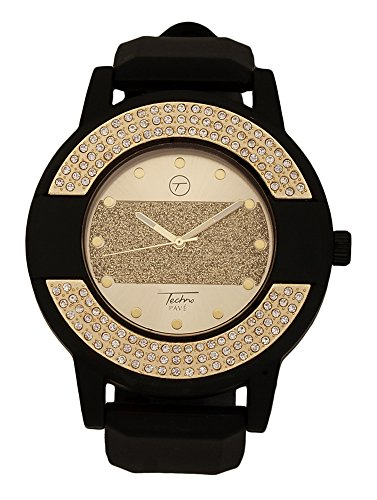 Techno Pave - Gold Black Iced Out Bezel Bling Bling Strip Design Watch (Techno Strip compare prices)
