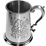 Pewter Tankard 1 Pint Shooting Scenes on Both Sides and Antique Handle