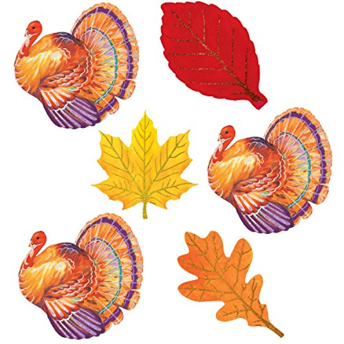Turkey and Leaves Glittered Cutouts
