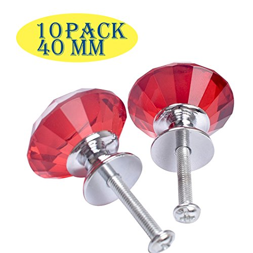 By Florida Cabinet Hardware10 Pack Of 40 Mm Diameter red Crystal Door Knobs Clear Diamond Shape Glass Crystal Knobs Crystal Pulls For Cabinet,Drawer,Dresser Cupboard Crystal Hardware