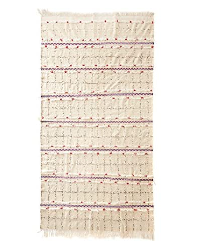 Vintage Berber Wedding Rug, Creme/Red/Blue/White, 3' 3 x 8' 2